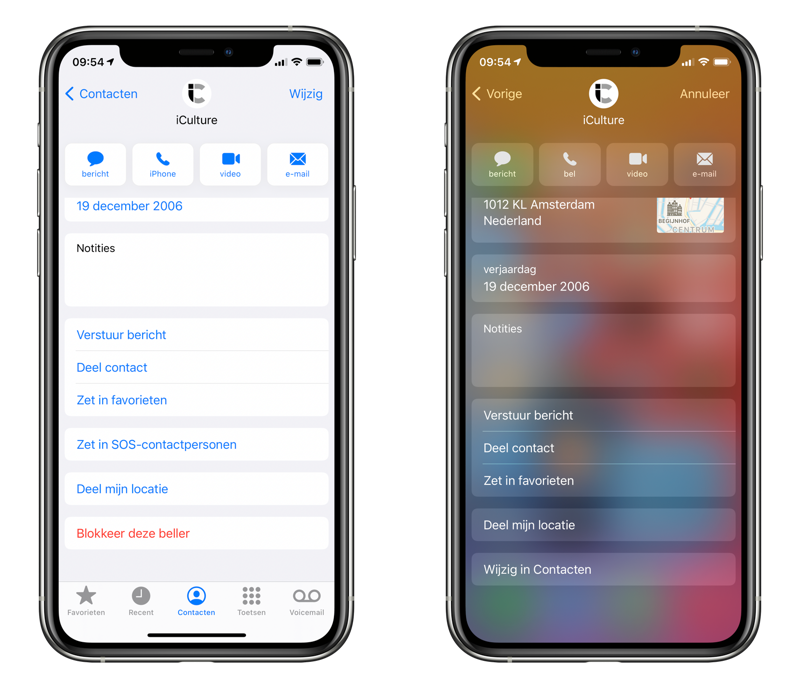 Contactgegevens delen vanaf de iPhone.
