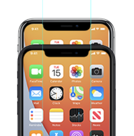 Icoontje iPhone 12 met notch vergelijking.