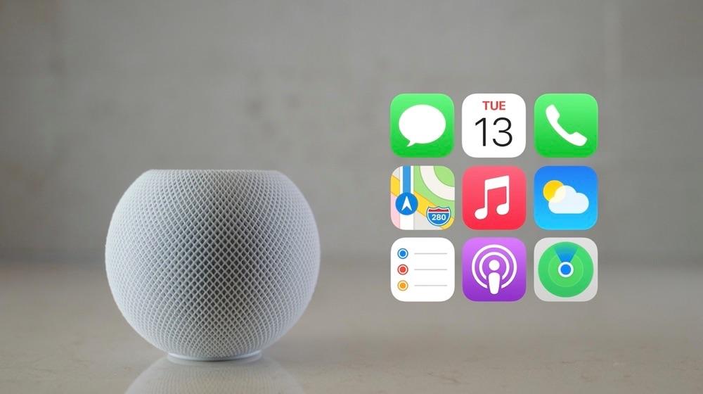 HomePod mini met apps.