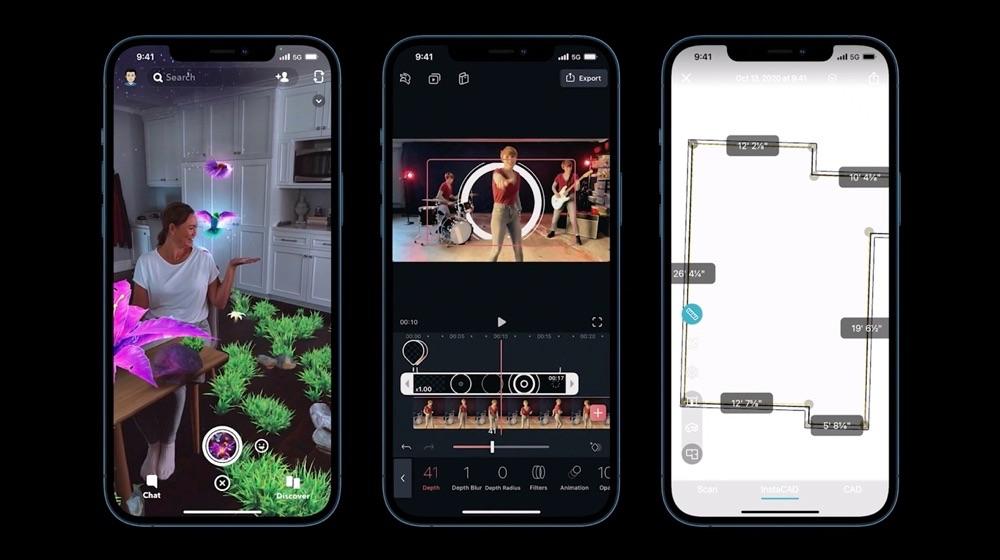 Drie iPhone-schermen met enkele andere toepassingen van LiDAR