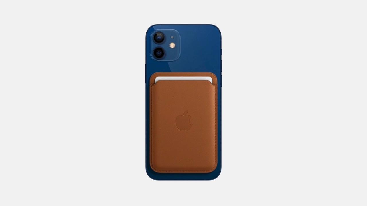 iPhone 12 met lederen MagSafe wallet hoes