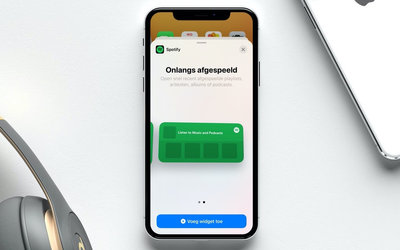 Spotify widget op iPhone.