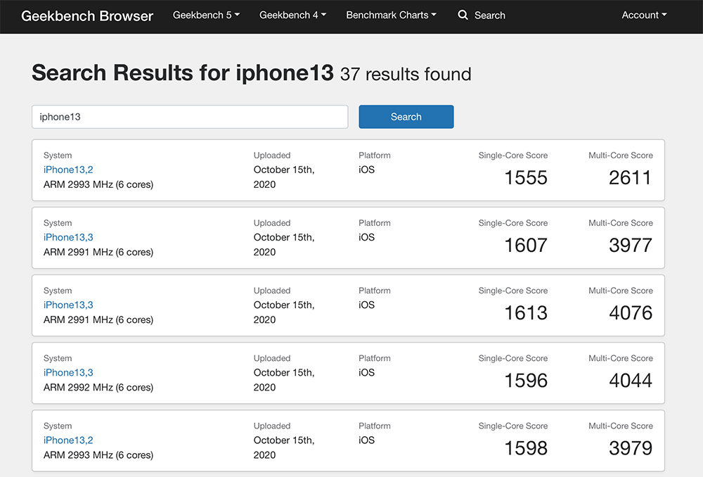 iPhone 12 benchmarks Geekbench
