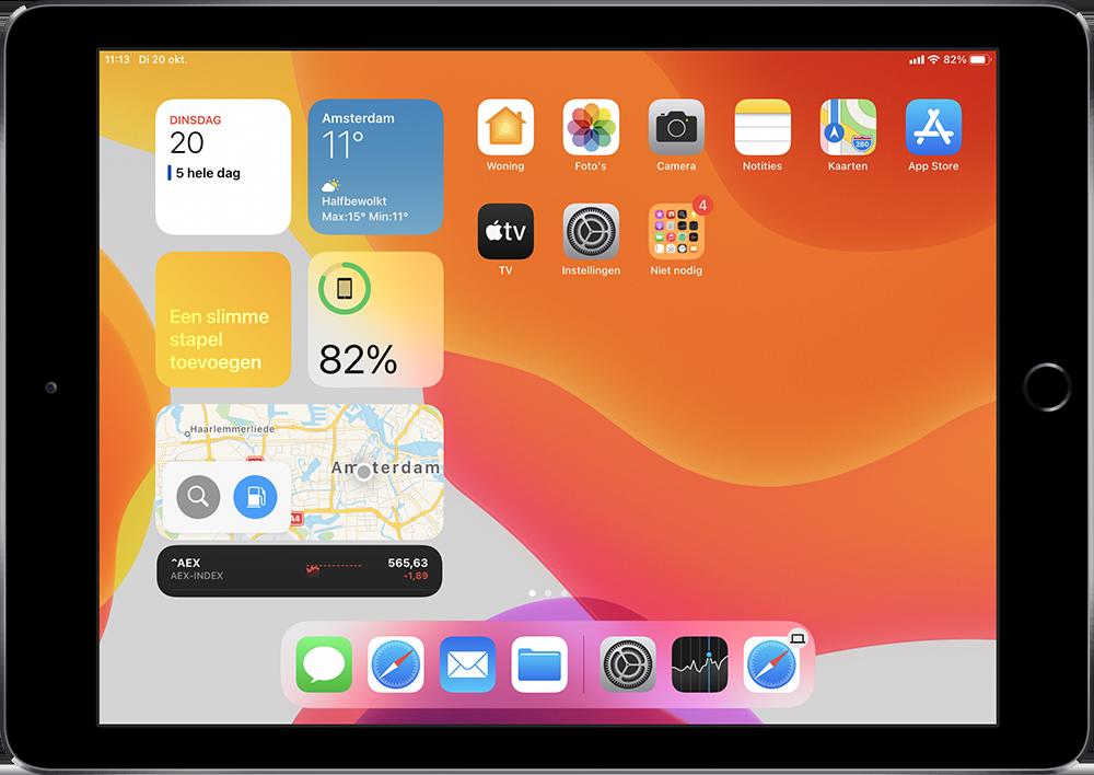 iPad widgets en beginscherm