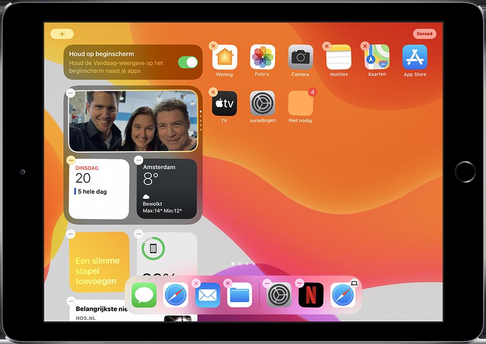 iPad widgets vastzetten