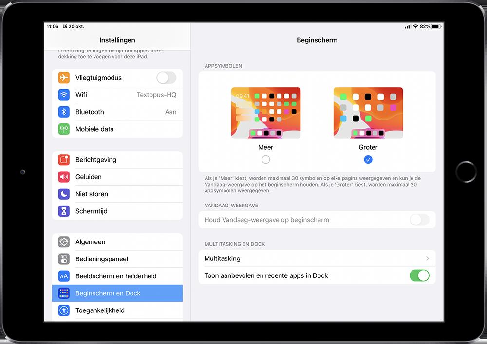 iPad beginscherm iconen