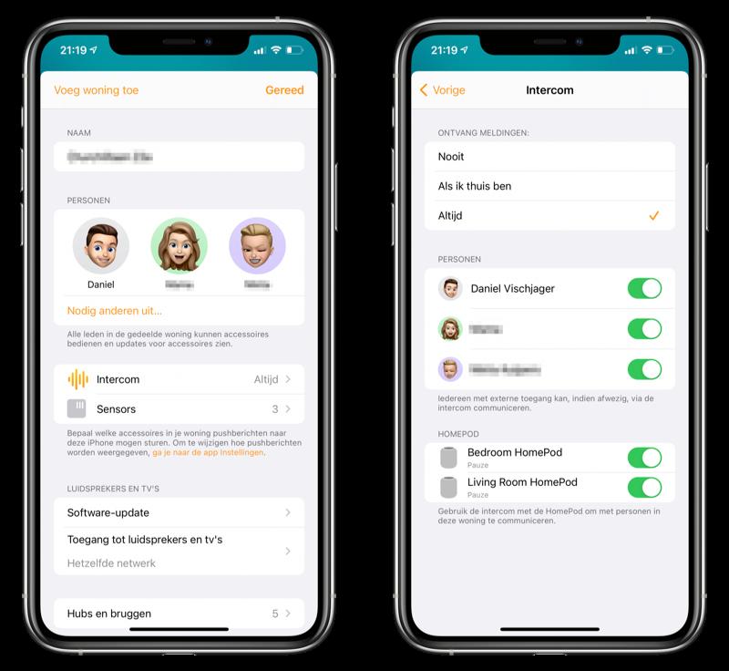 Intercom instellingen Woning-app