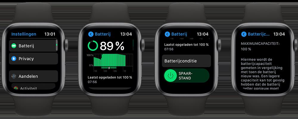 Batterijconditie van Apple Watch