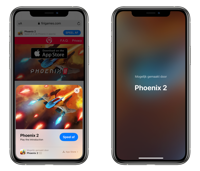 App Clip met Phoenix 2 game.