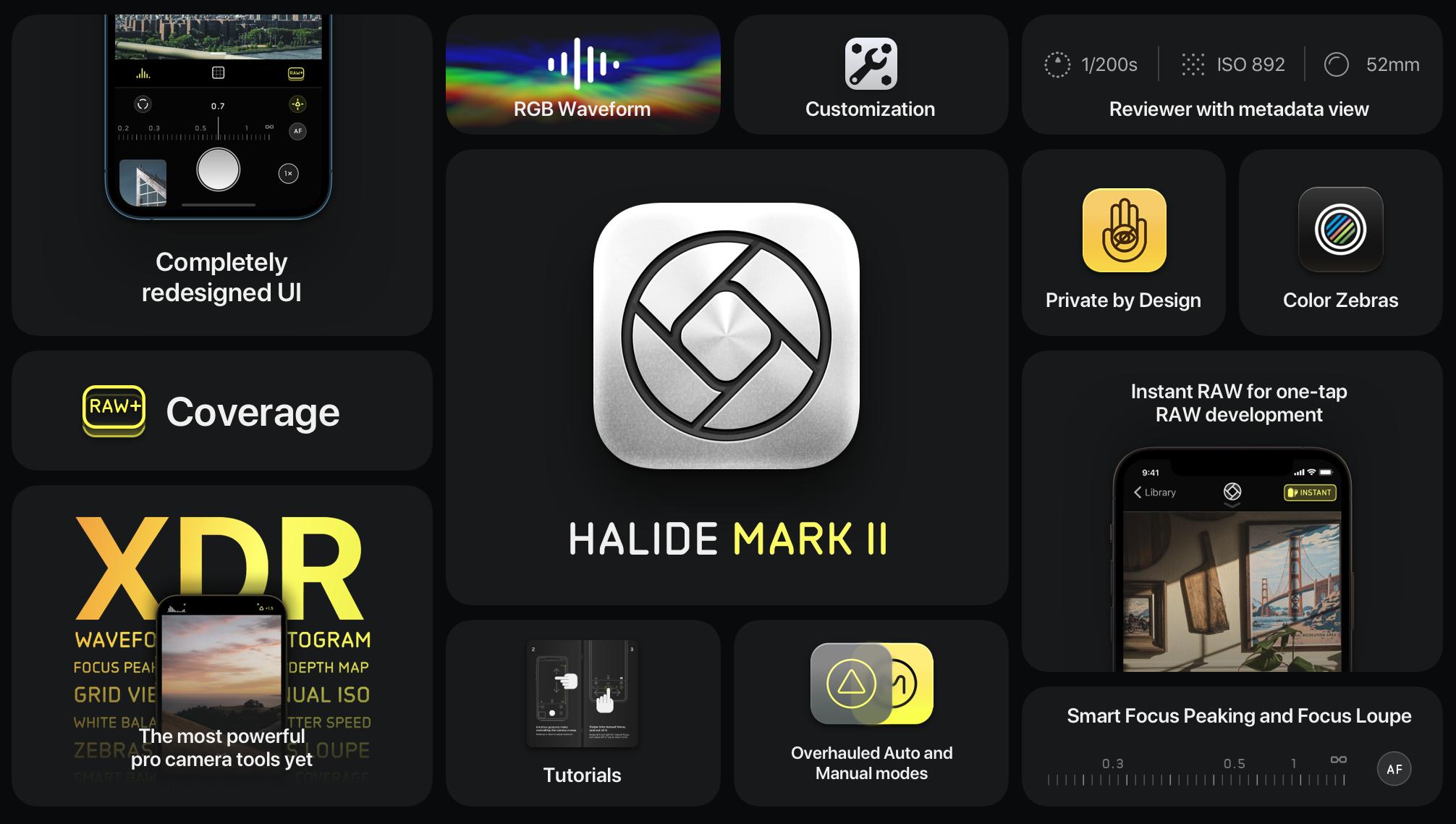 Halide Mark II functies.