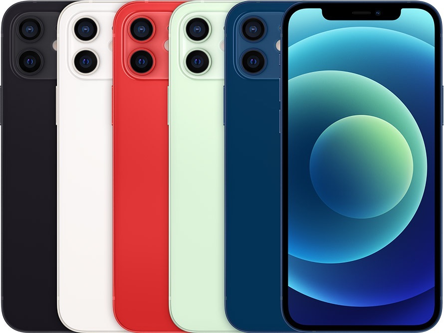 iPhone 12 kleuren in stapel.
