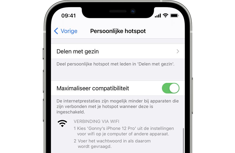 iPhone 12 persoonlijke hotspot