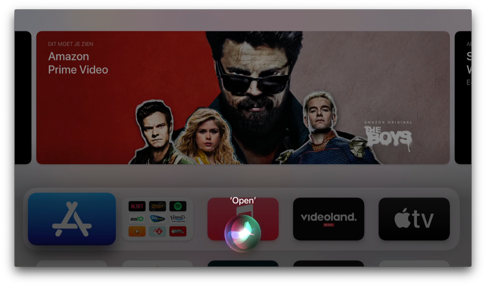 Apple TV-app openen met Siri.