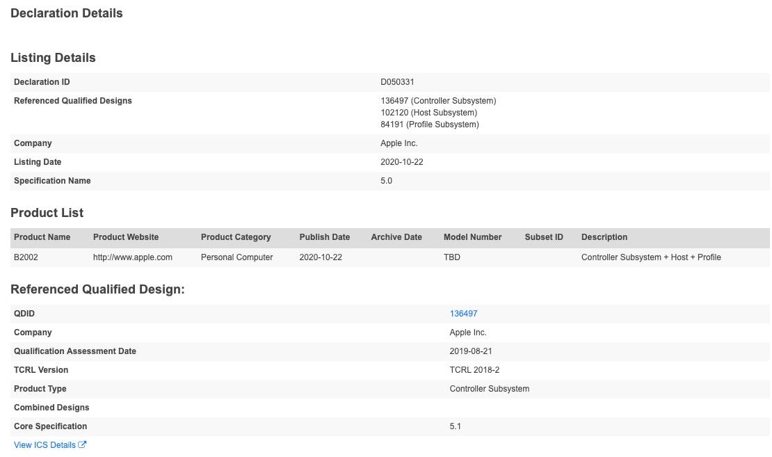 Apple Bluetooth-registratie voor B2002 Personal Computer.
