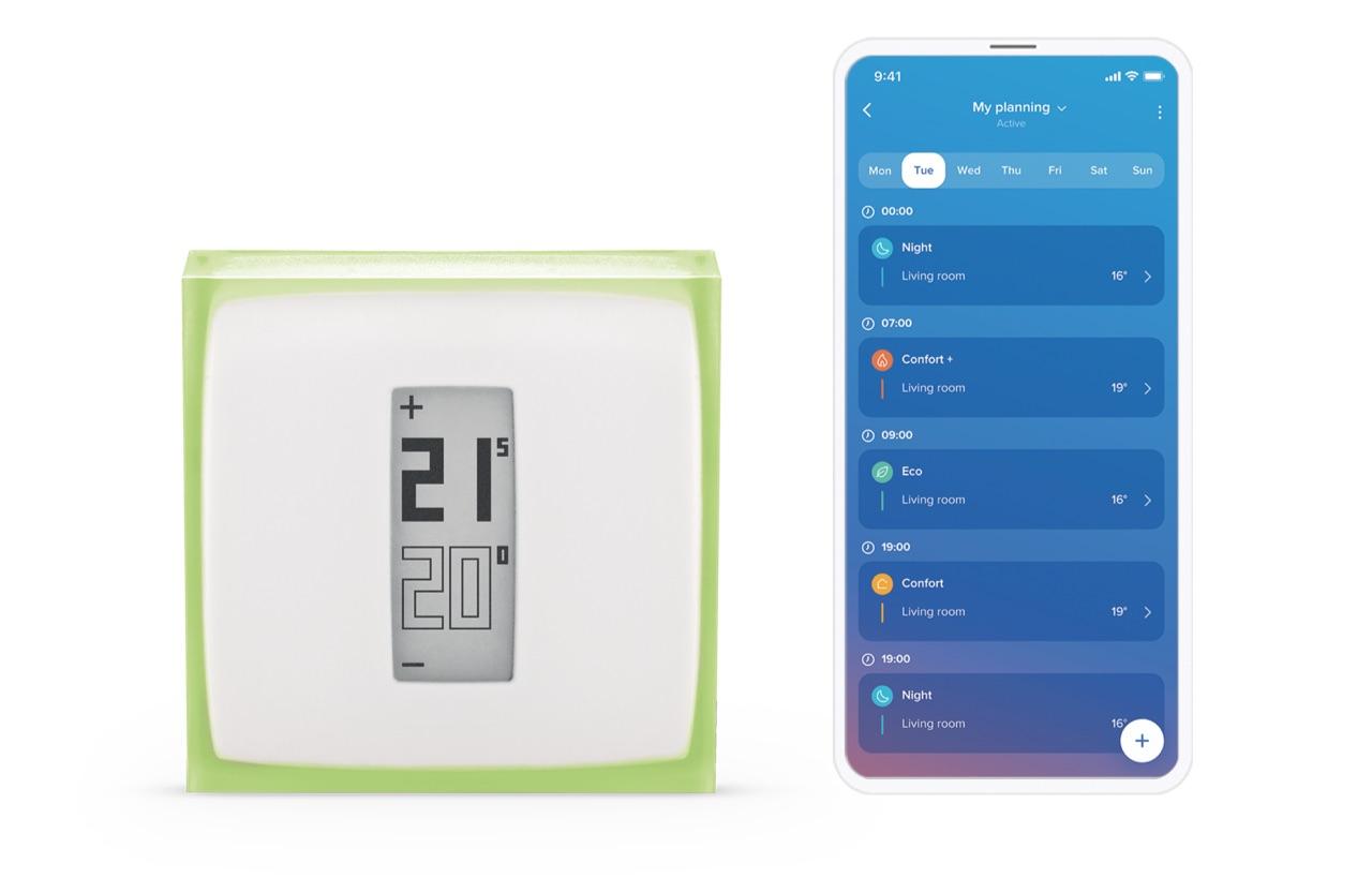 Netatmo Slimme Modulerende Thermostaat met HomeKit met de app.