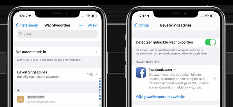 Gelekte wachtwoorden iPhone