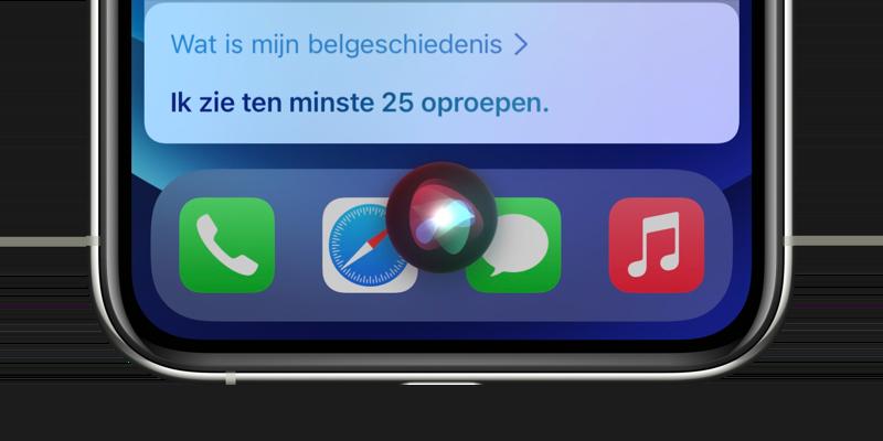 Met Siri belgeschiedenis en oproepen opvragen.