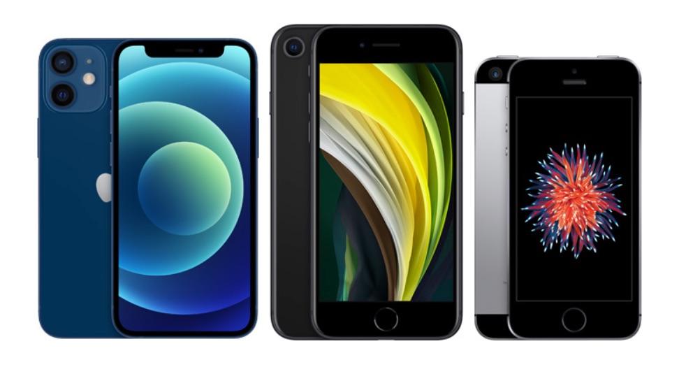 iPhone 12 mini vs iPhone SE 2020 vs iPhone SE 2016.