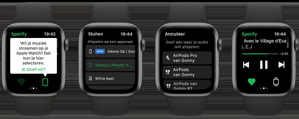 Spotify muziek streamen naar Apple Watch