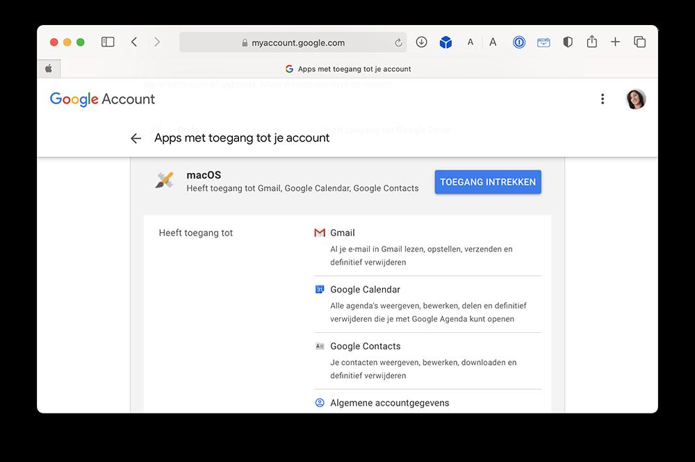 Toegang van apps intrekken bij Google