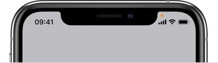 iPhone-microfoon in gebruik: oranje bolletje