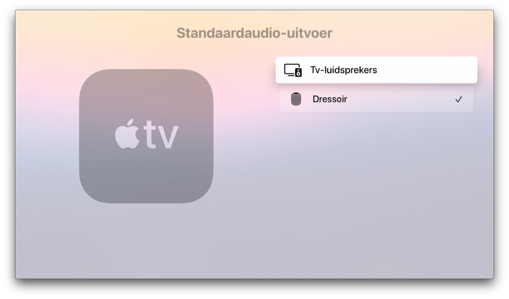 HomePod met Apple TV als standaard audio-speaker voor home cinema.