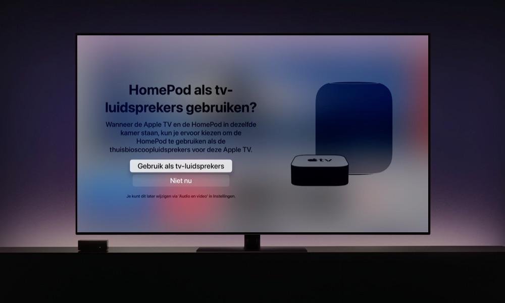 HomePod koppelen met Apple TV: instellen als tv-luidspreker.