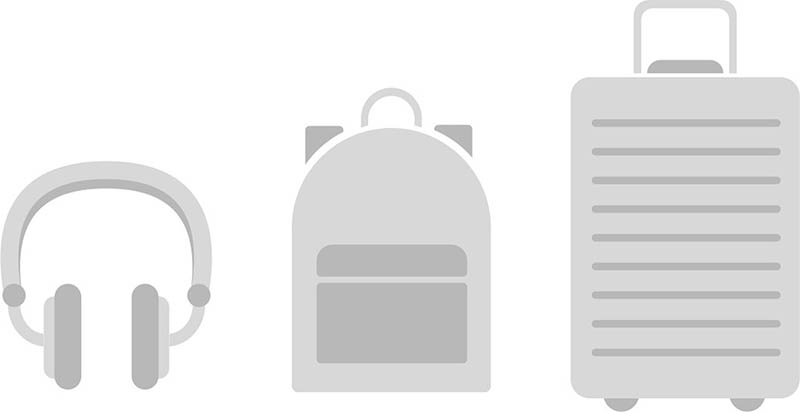 iOS 14.3 iconen van AirPods Studio, rugzak en koffer
