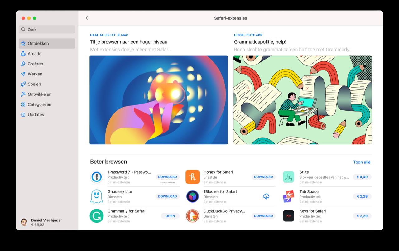 Safari extensions in Mac App Store