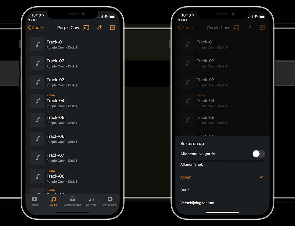 VLC afspeellijsten in mobiele app