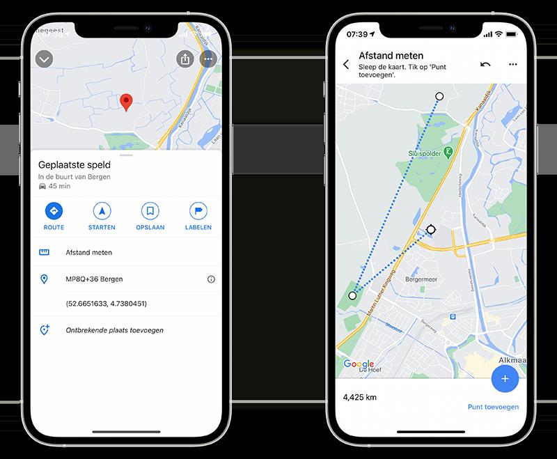 Google Maps afstanden meten