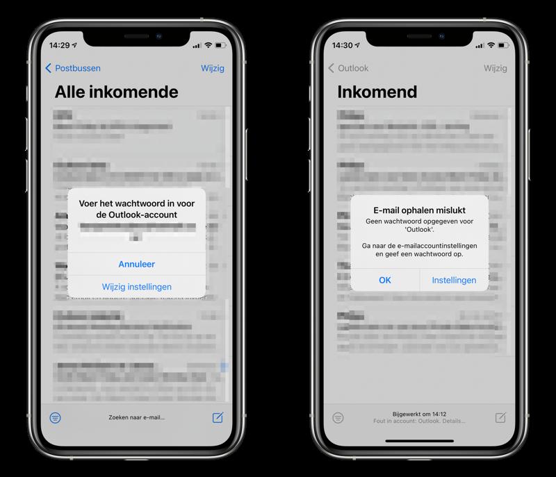 Melding Outlook wachtwoord in de Mail-app.