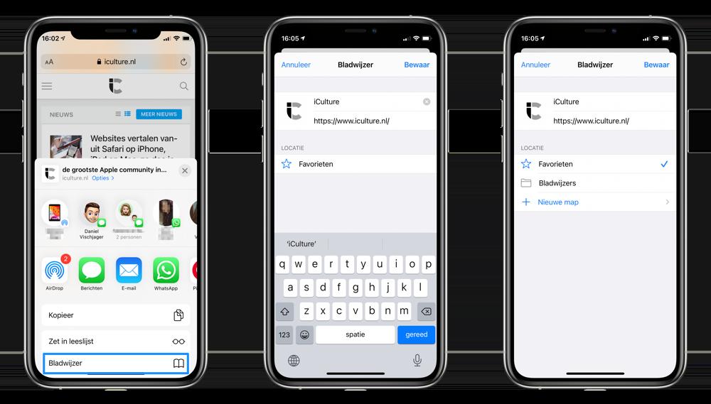 Bladwijzer toevoegen iPhone