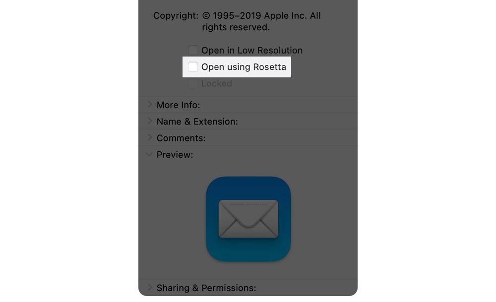 App openen met Rosetta