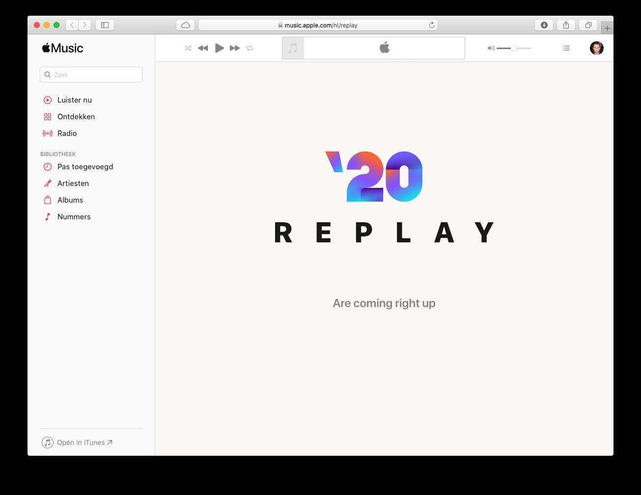 Apple Music Replay 2020 op de Mac.