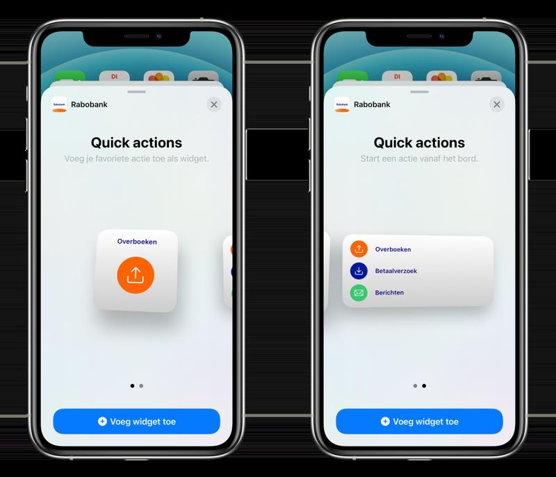 Rabobank widgets in iOS 14.