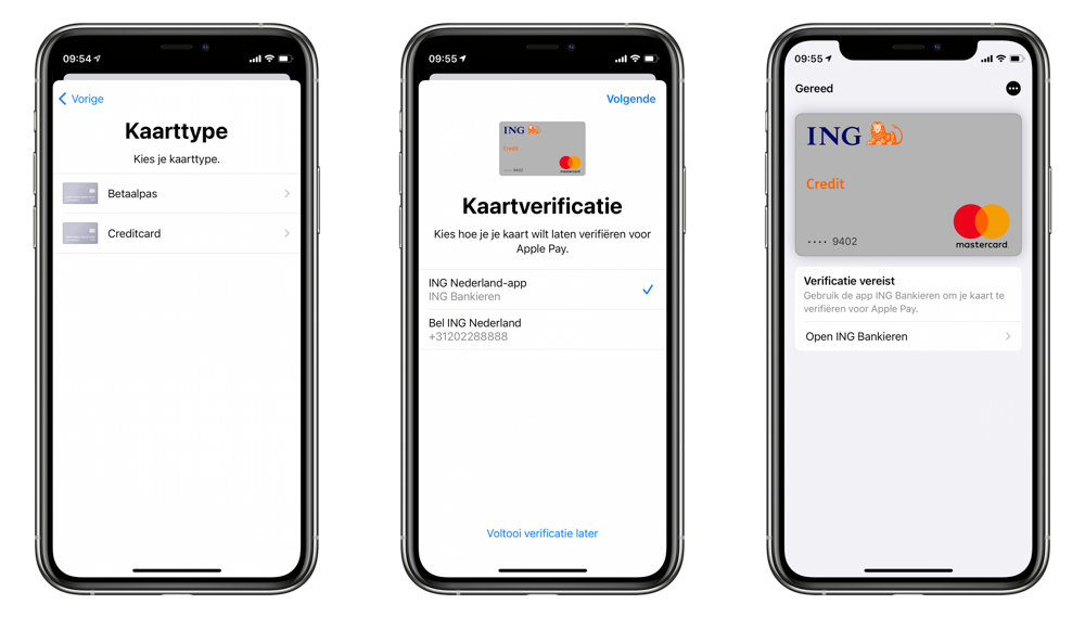 ING Creditcard in Apple Pay toevoegen.