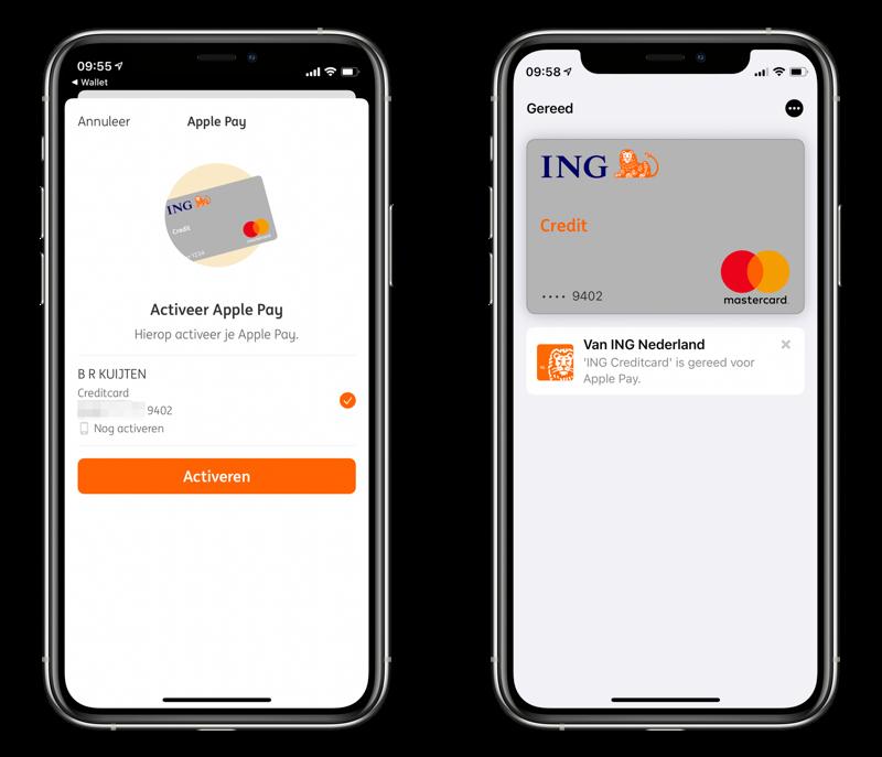 ING Creditcard Apple Pay ingesteld.