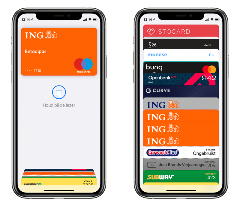 Apple Pay kaarten wisselen.