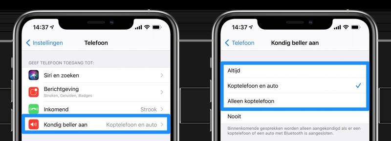 Kondig beller aan iPhone AirPods