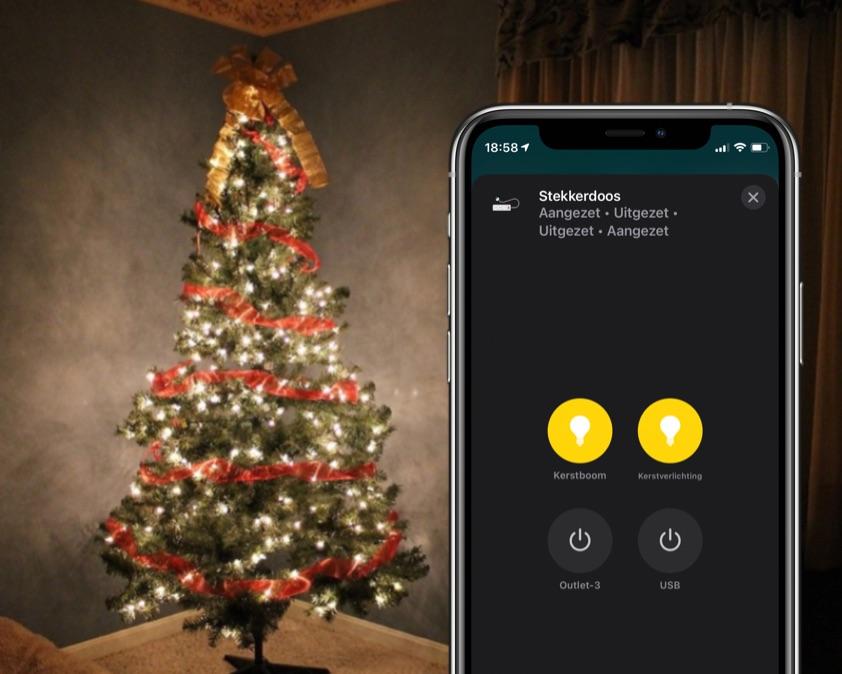 HomeKit kerstboom en kerstversiering met stekkerdoos.