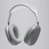 AirPods Max: zijkant en voorkant van witte model.