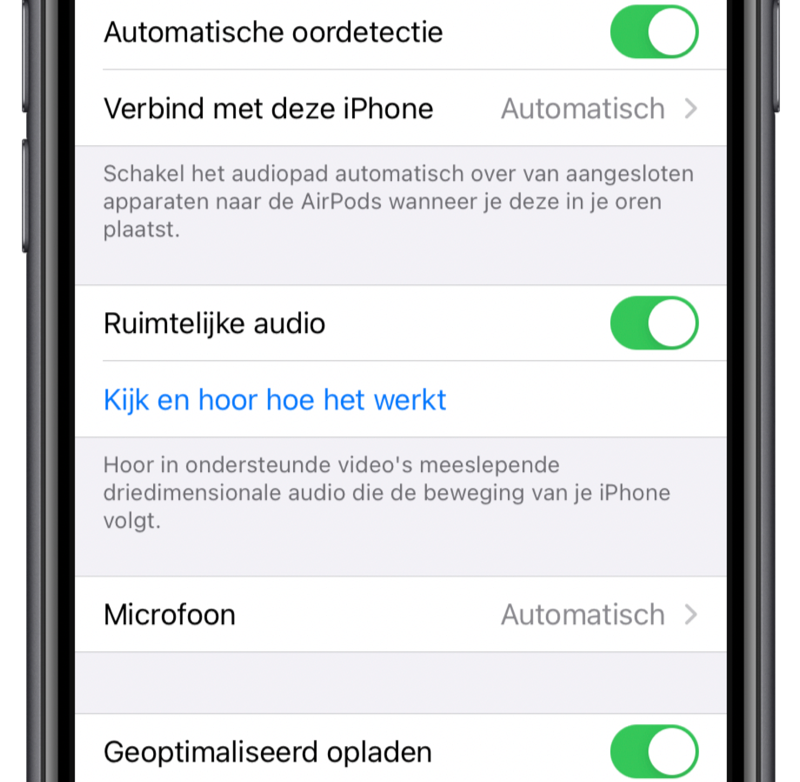 Ruimtelijke audio op AirPods instellen.