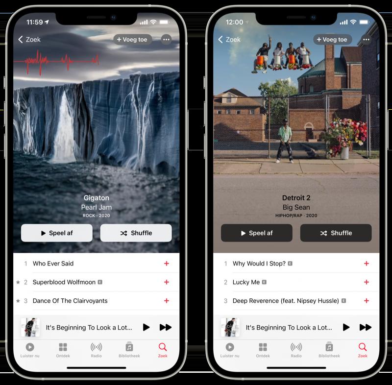 Geanimeerde albumhoezen iOS 14.3