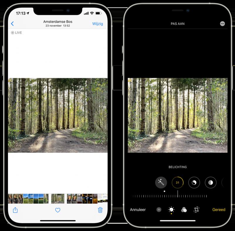Achteraf belichting aanpassen iPhone