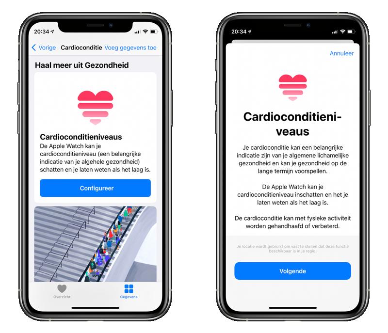 Cardioconditie op Apple Watch instellen.