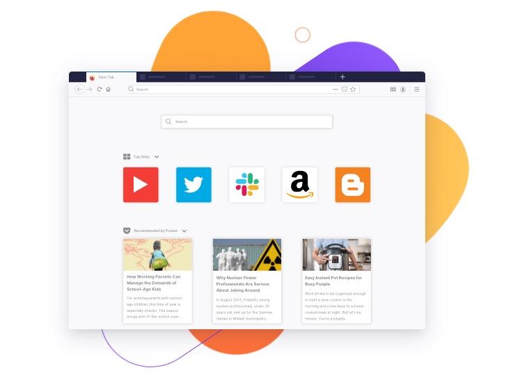 Firefox browser: startpagina.