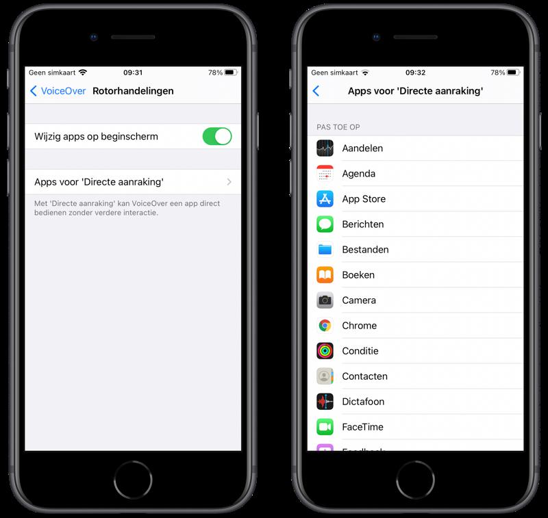 VoiceOver Apps voor Directe aanraking.