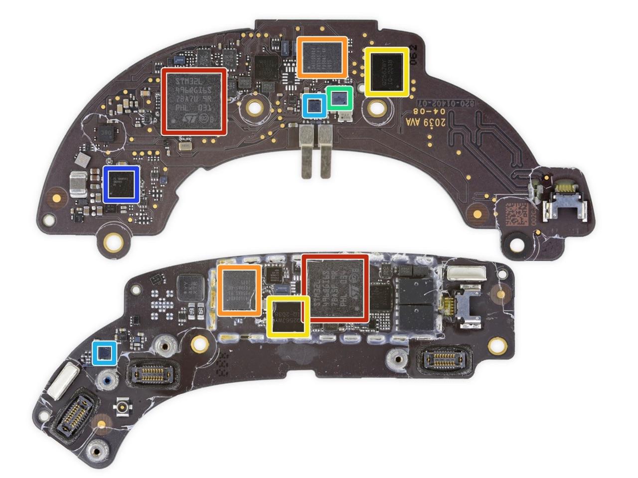 Chips op onderdelen AirPods Max via iFixit teardown.