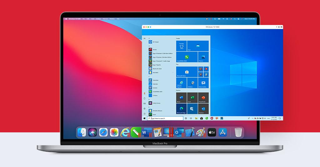 Parallels op een MacBook met macOS Big Sur.